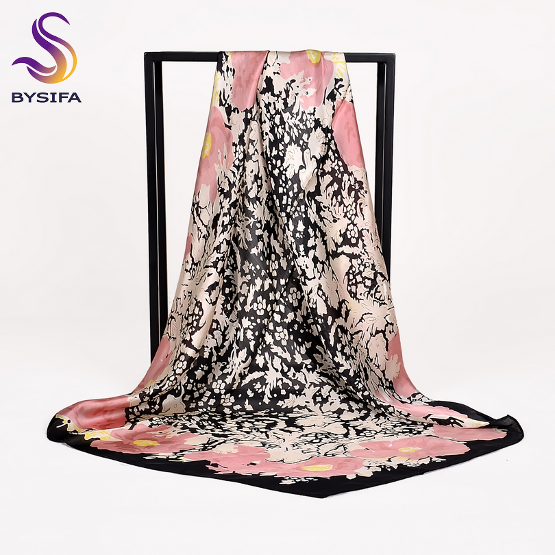 [BYSIFA] Women Silk   Scarf   Shawl New Floral Design Black Pink Large Square   Scarves     Wraps   Spring Autumn Muslim Head Cape 90*90cm