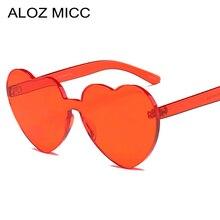 ALOZ MICC Women Rimless Sunglasses Brand Designer 2019 Sexy Peach Heart Hot Red Grey Party Glasses UV400 Q21