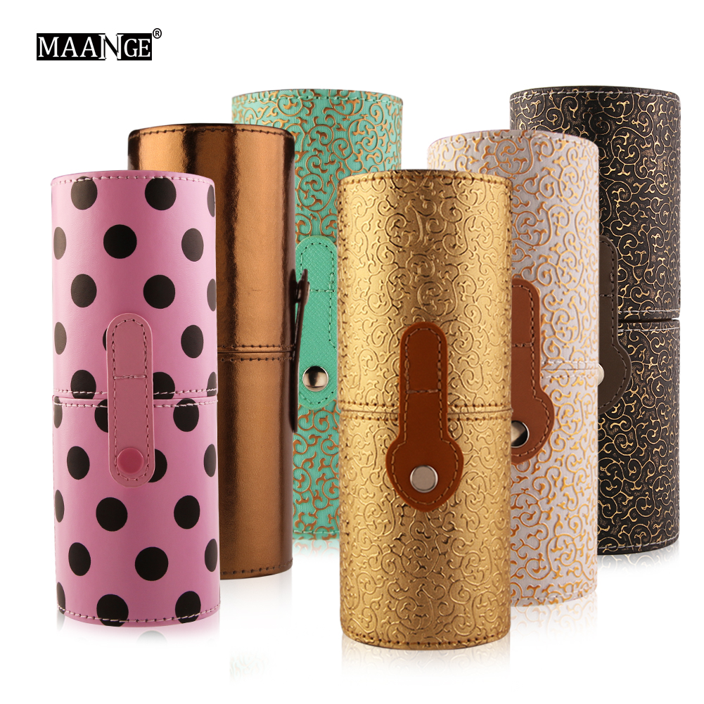 1Pcs PU Leather Travel Cosmetic Brush Pen Holder Storage Empty Holder Makeup Bag Brushes Organizer Make Up Tool Case Kit Gifts maange dropship leather cosmetic case portable storage makeup bags organizer brush holder cup pu material anne