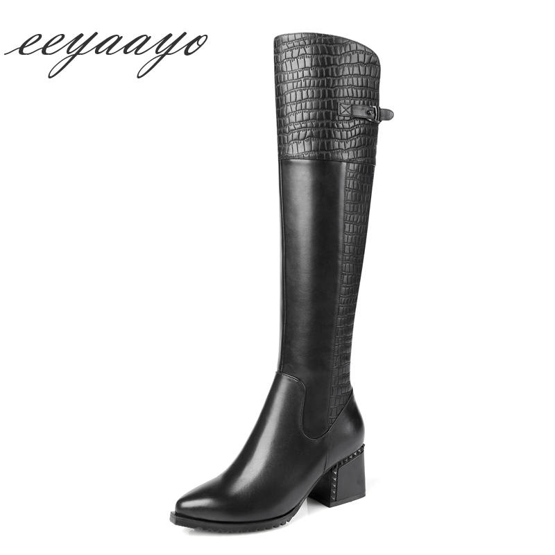 2018 New Winter Genuine Leather Women Knee-High Boots High Heel Pointed Toe Zipper Punk Sexy Women Shoes Black Cow Leather Boots цены онлайн