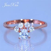 JUNXIN Cute Animal Dog Cat Bear Footprint Ring Rose Gold White Crystal Heart Paw Rings For Women Wedding Thin Ring Girls Jewelry
