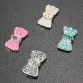 10 UNIDS 3D Crystal Rhinestone de La Perla Del Bowknot de Acrílico Del Arte Del Clavo Pegatinas DIY Decoraciones Chic Diseño