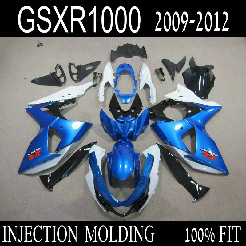 7 presentes Injection ABS carenagem kits para SUZUKI GSX R1000 2009 2010 2011 2012 GSXR1000 K9 09-12 azul branco carenagens Personalizadas bodykits