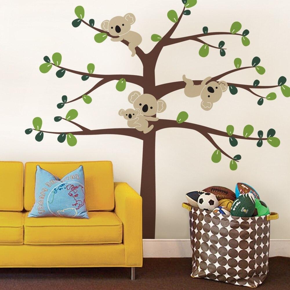 Dessin animé pépinière Koala grand arbre Stickers muraux couleur personnalisée enfants chambre sticker Mural amovible Design artistique papier peint Mural