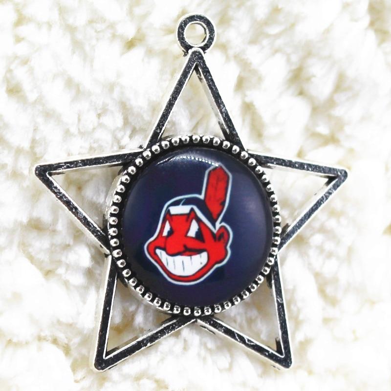 Cleveland Indians Team Sports Alloy Glass Pendant 10pcs/lot Floating Dangle Charms Bangles Necklace Bracelet Fashion Jewelry