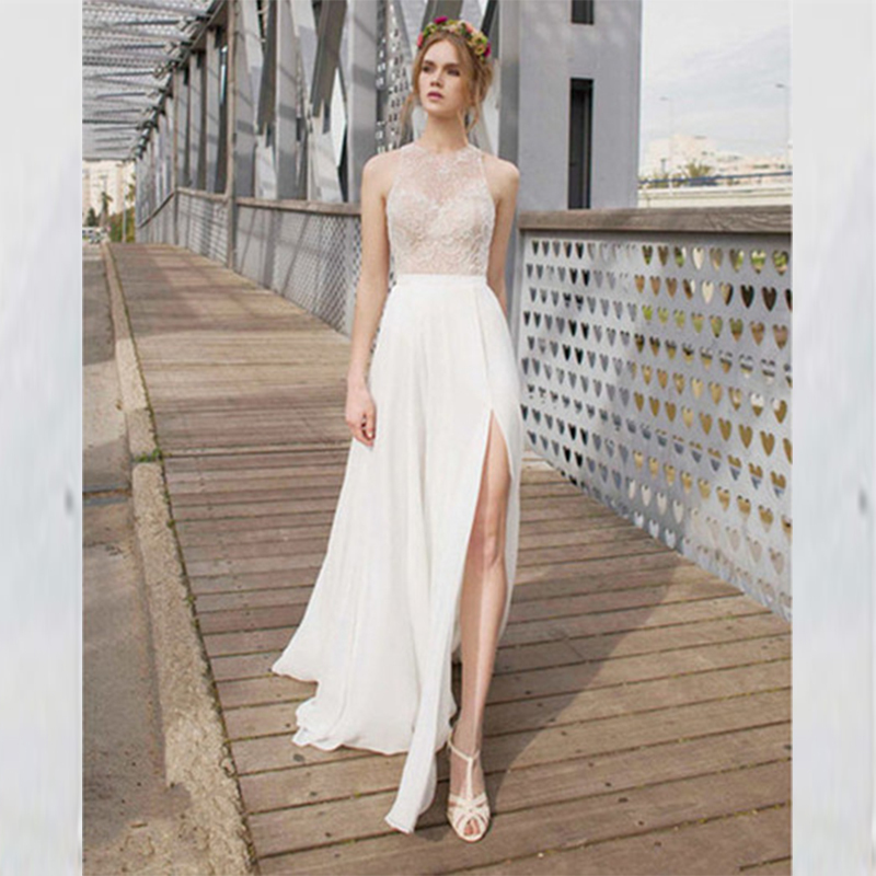 2015 Simple See Through Back Wedding Dresses Chiffon Lace Sleeveless Wedding  Dress High Slit A Line Bridal Gowns Robe De Mariee In Wedding Dresses From  ...