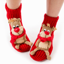 Women Genuine Thick Socks Calcetines Character Christmas Socks Pug Non-Slip Floor Animal Cartoon Warm Wool Socks Funny Gift