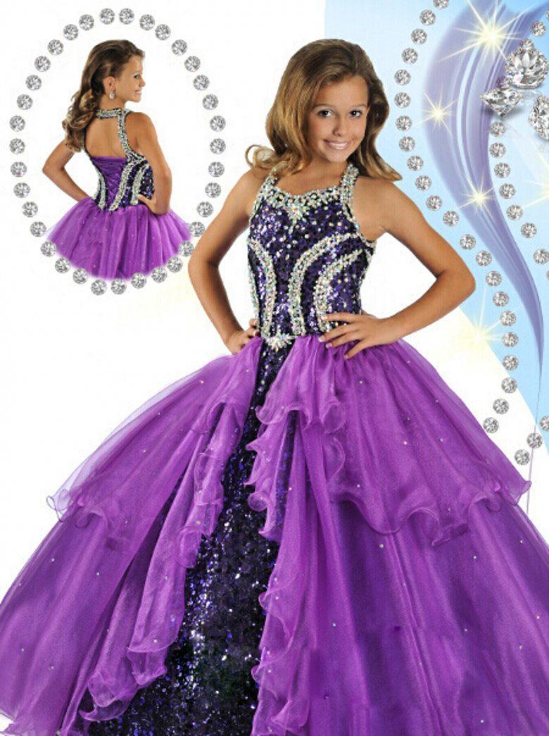 2019 Hot Sale Purple   Flower     Girl     Dresses   Halter Beads Sequins Custom made Organza Floor Length   Girls   Pageant   Dresses