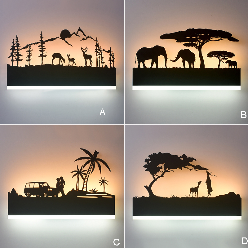 creative black leopard pattern wall sticker for livingroom bedroom decoration Creative led Wall Light Indoor Wall Decoration led Bedside Lamps for Home Wall Lamp for Bedroom Lighting Black Wall Sconce Lamp
