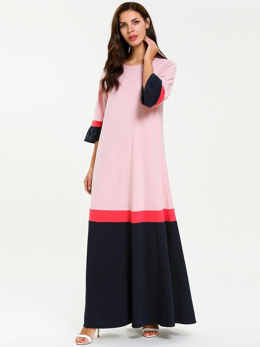 US $24.43 48% OFF|Long Nightgown Cotton Plus Size Night Dress Half Sleeve  Sleepwear Muslim Arabic Abaya Moroccan Kaftan Dress Home Dress Nighty-in ...