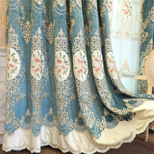 Slow Soul Europe Embroidered Floral Curtains For The Living Room Luxury Coffee Blue Purple Pink And Drapes Tulle Bedroom Kitchen(China)