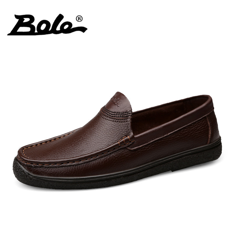 BOLE Autumn New Handmade Leather Men Shoes Fashion Slip on Breathable Men Driving Loafers Cosy Flats Shoes Men Shoes Size 38-45 branded men s penny loafes casual men s full grain leather emboss crocodile boat shoes slip on breathable moccasin driving shoes