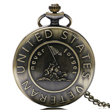 United States US American Veteran Necklaces Pocket Watches Quarzt Watch Men Father Vintage Meaningful Gifts With Chain 2018