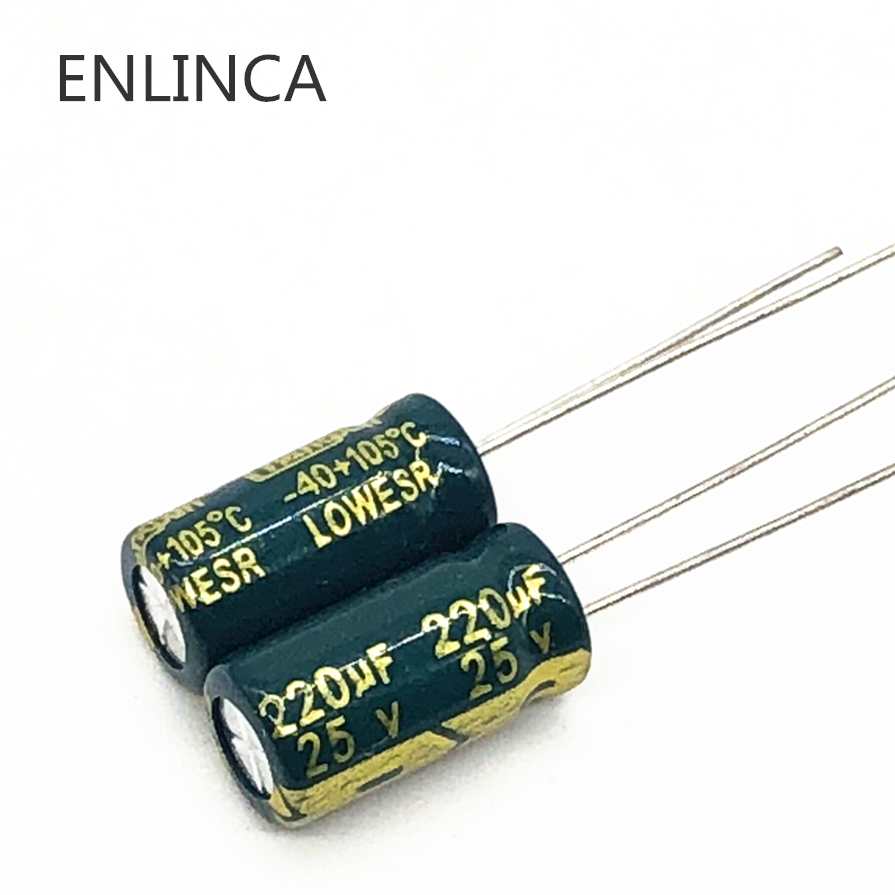 50pcs/lot P25 25V 220UF Low ESR/Impedance High Frequency Aluminum Electrolytic Capacitor Size 6*12 220UF25V 20%