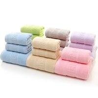 Modren Solid Towel Set 3Pcs Set 1 Bath 2 Face Towels 100 Cotton Adult Thickened Towels