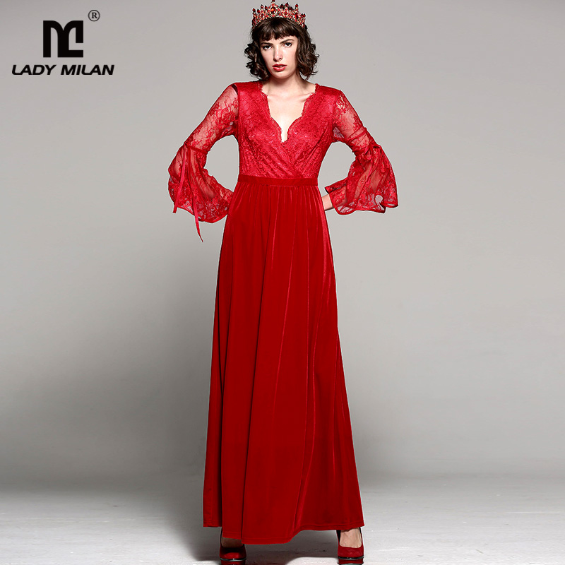 New Arrival 2018 Womens Sexy Low V Neck 3/4 Flare Sleeves Lace Patchwork Velour ELegant Long Runway Party Dresses
