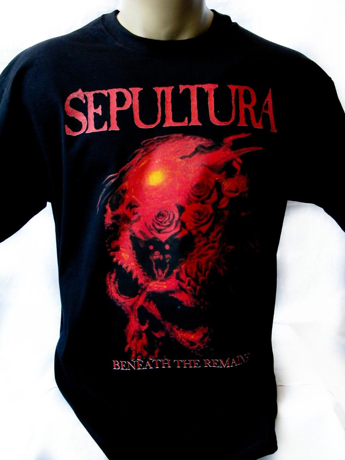 SEPULTURA BENEATH THE REMAINS 1989 Black T shirt Men Shirt Rock Band Tee Music  Fashion T shirt