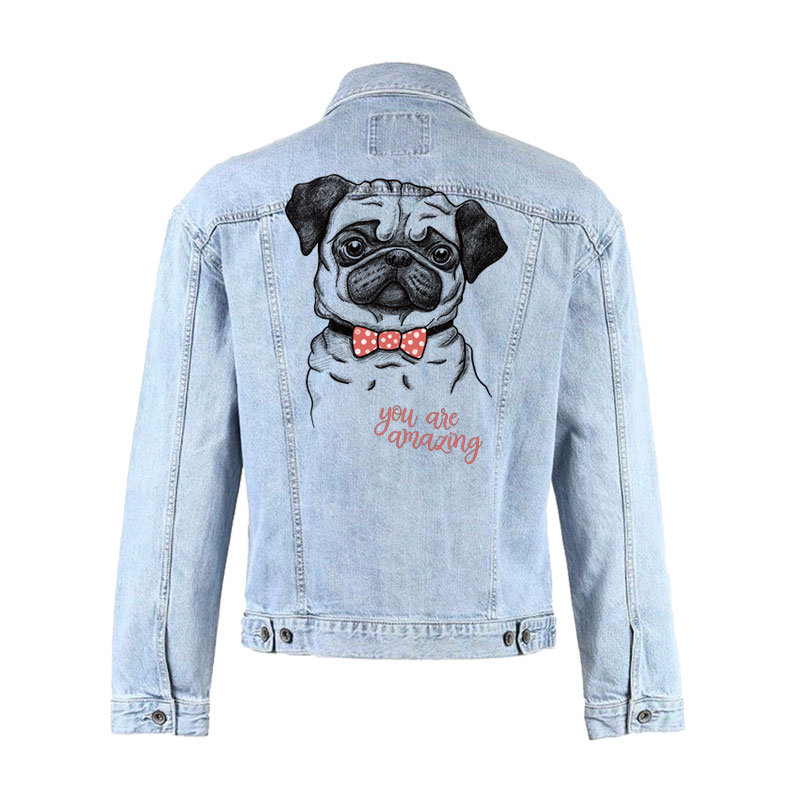 dog pug stickers for clothes iron on patches for clothing heat transfer for T shirt jeans diy accessory patch vetement parches in Patches from Home Garden