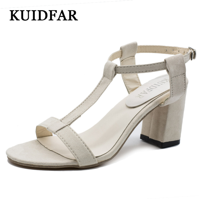 4cafda1a0771 KUIDFAR Women Shoes Squre Heels Summer Women Sandals footwear Heel Sandals  Gladiator sandals Ladies Shoes Fashion
