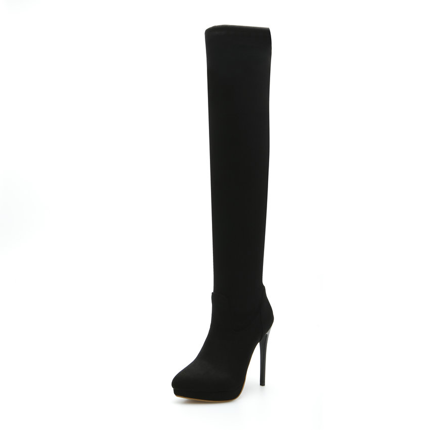 2016 PU leather Scrub Thin High Heel Zipper Over The Knee Boots Women Shoe Motorcycle Boots
