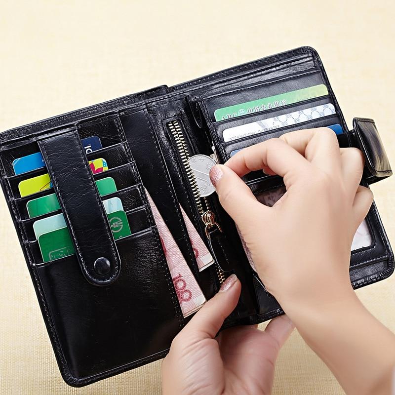 Genuine Leather Women Short Vintage Wallet Passport Package Oil Wax Wallets Purse Brand Design Women's