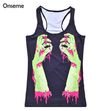 Onseme Summer season Kinds Sizzling Trend Girls's Tank Inexperienced Satan Hand Blood Digital Print Spherical Neck Sleeveless Tank Camisole Free Measurement