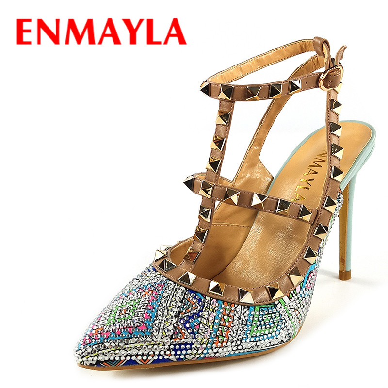 Фотография ENMAYLA Women Rhinestone Pointed Toe High Heels Close Toe Gladiator Sandals Women Rivets Crystal Slingback Party Pumps