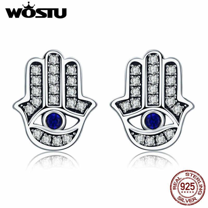 أقراط WOSTU من الفضة الإسترليني عيار 925 يدوية من فاطمة همسة للسيدات ماركة أصلية مجوهرات محظوظ هدية CQE389