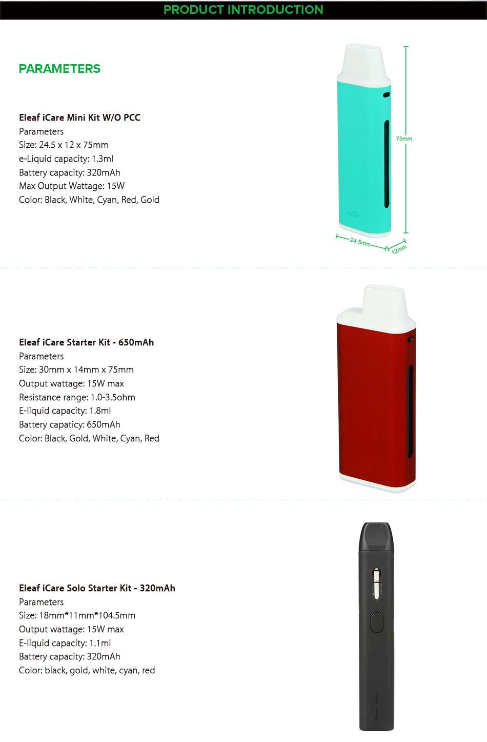 eleaf icare, eleaf icare mini , Eleaf iCare Solo Vaping Starter Kit