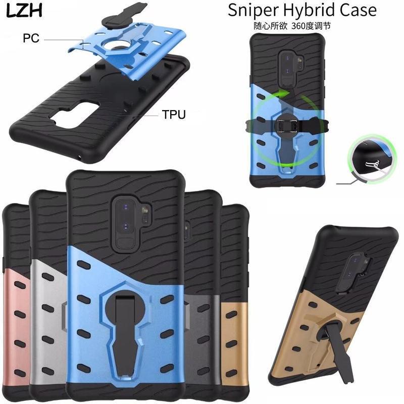 360 градусов вращающийся Подставки Снайпер Панцири Телефон чехол для Samsung Galaxy S9/S9 плюс TPU + PC съемный ударопрочный крышка В виде ракушки