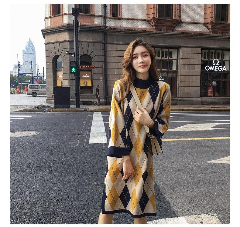 2019 Vintage robe élégante femmes automne hiver pull robe motif géométrique dames chaud pull robes