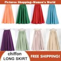Women's High Waist 2 Layers Chiffon Maxi Skirt 2016 Ladies Boho Casual Pleated Big Hems 22 Colors Quality Beach Skirts Saias