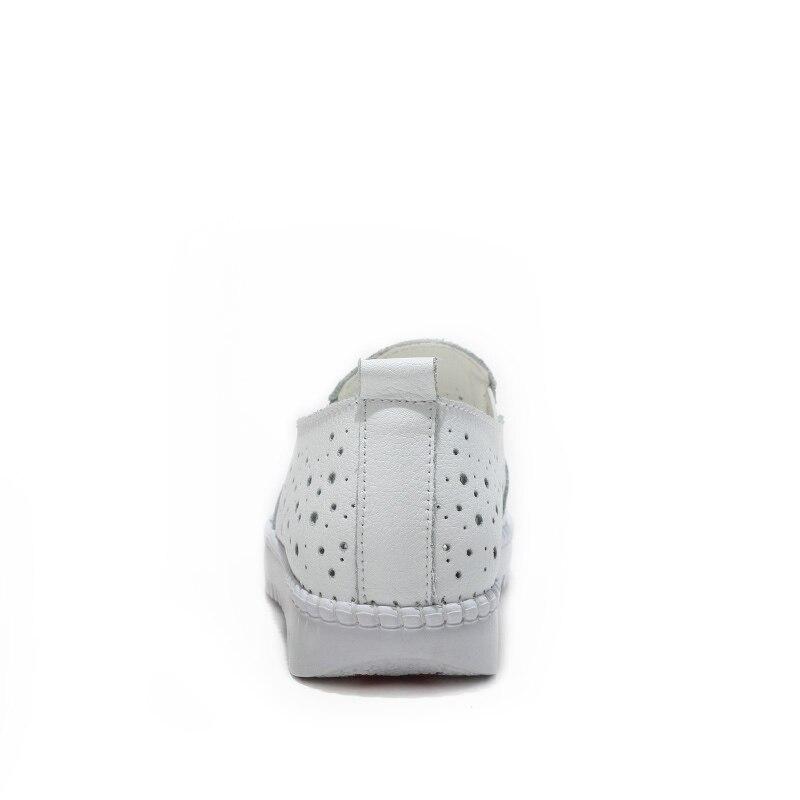 Image 4 - Kobiety trampki buty z prawdziwej skóry Hollow Handmade panie mieszkania płótnie łódź buty kobiece buty wsuwane obuwie ślubneDamskie buty typu flatsButy -