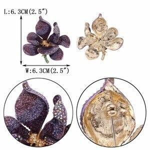Image 5 - Christmas брошь Orchid Flower Brooch Women Broche Femme Multicolor Kpop Fashion Jewelry Purple Gold Enamel Pin Badge Gift Noel