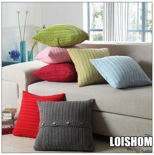 Drop Ship Cotton Knitted Decorative Button Pillow Cover Cable