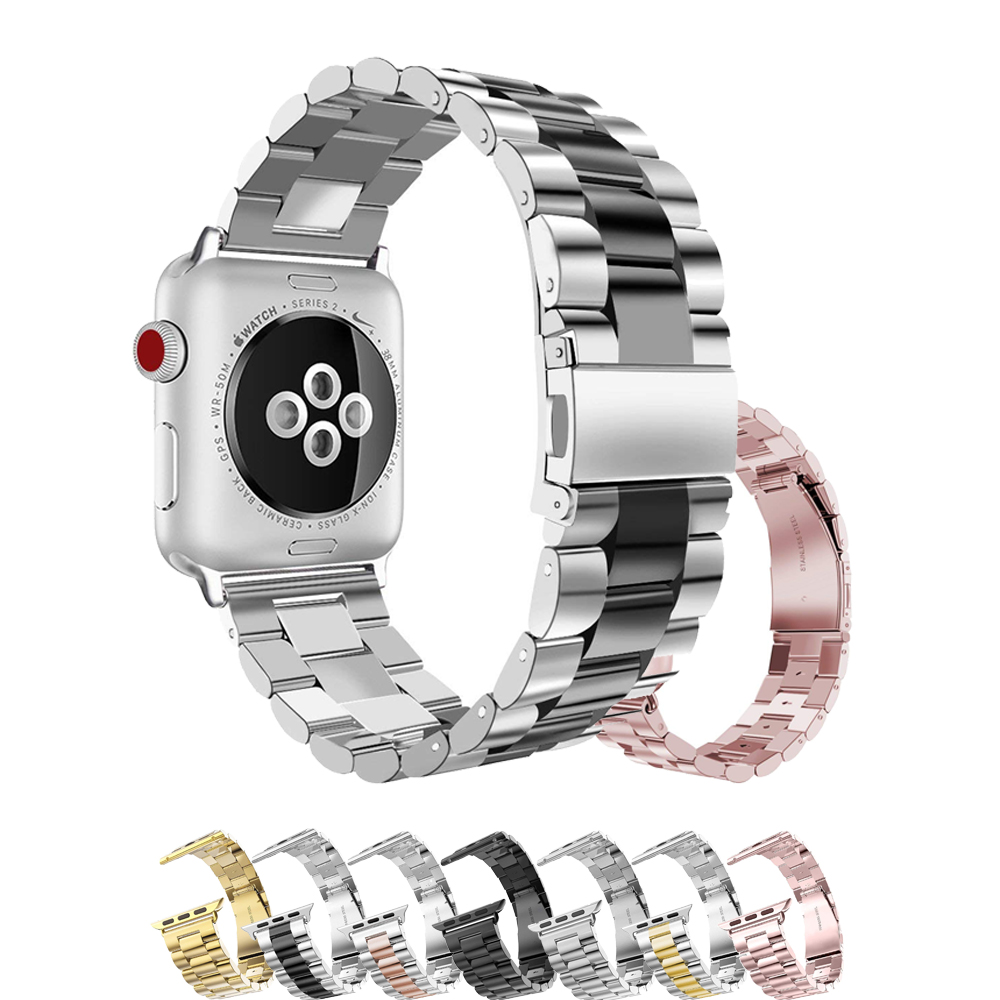 Stainless Steel Watch Strap for Apple Watch Band 42mm 38mm iwatch series 3/2/1 watch accessories bracelet watch wrist luxury ladies watch strap for apple watch series 1 2 3 wrist band hand made by crystal bracelet for apple watch series iwatch