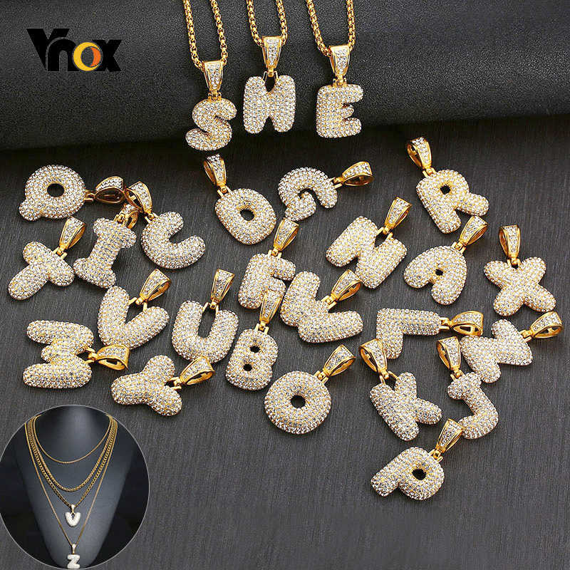 Vnox Custom Name A-Z Bubble Letter Alphabet Necklace For Men Women Gold Tone Stainless Steel Pendant Bling Hip Hop Chain Jewelry