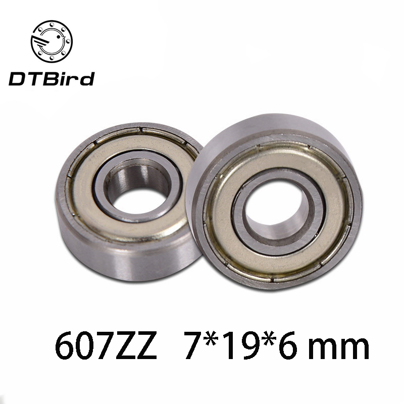 10 PCS 7x19x6mm Double Metal Shielded Ball Bearing Bearings 607z 607ZZ
