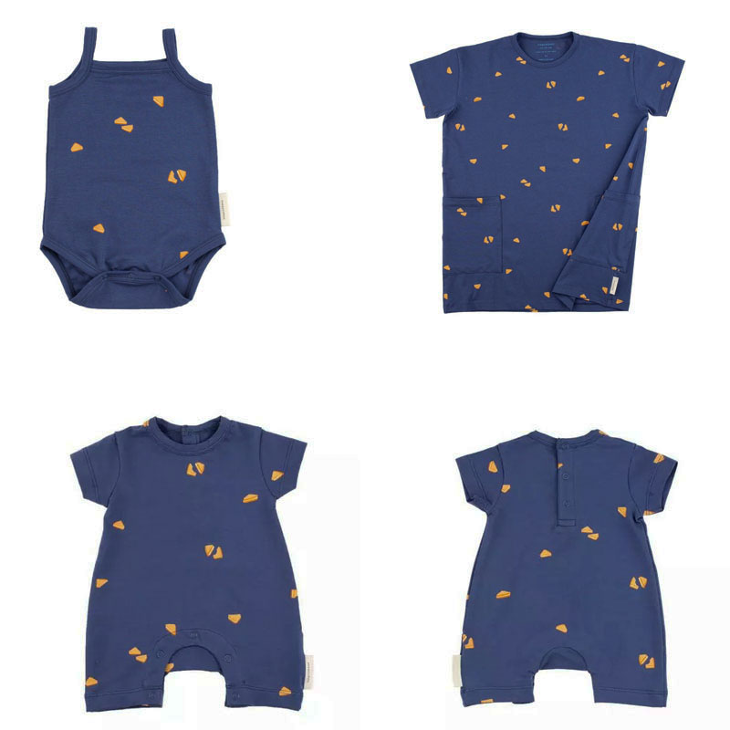 2018 Tiny Cottons Blue   Romper   and Dresses New Born Baby Brand   Rompers   Tiny Cotton Boys Clothing Girls One-piece sandwich Pattern