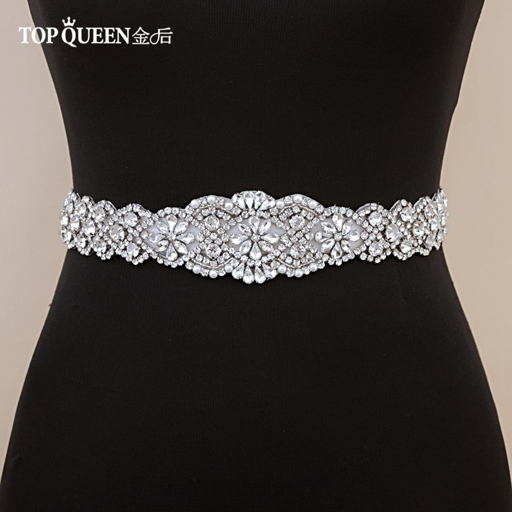 fc59b4ab10 US $19.39 |TOPQUEEN S161C Wedding dresses belt for girls rhinestone silver  belt wedding dress belt accessories handmade belt rhinestone-in Bridal ...