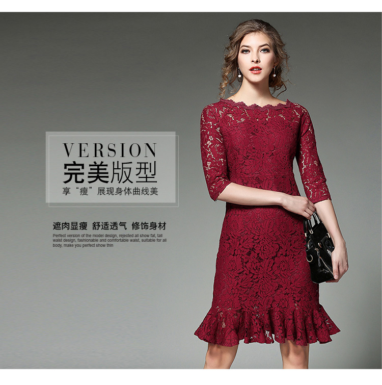 6bc02023c0d5 Lace Trumpet Mermaid Solid Color Three Quarter Hollow Out Knee length Dress  Office Plus Size Slim Fit Lady Fishtail Dresses -in Dresses from Women s ...