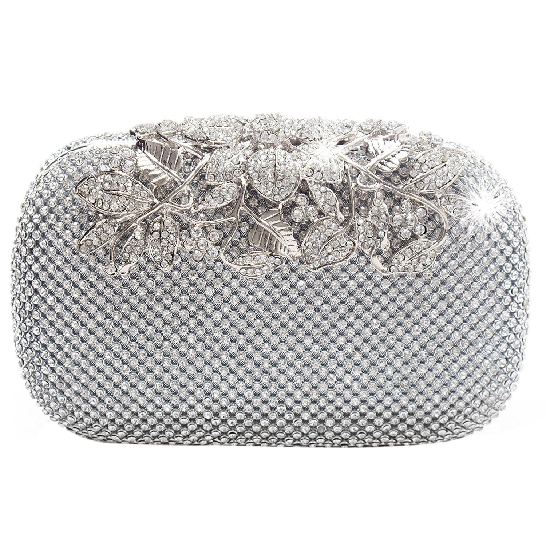 Unique Clasp Silver Diamante Crystal Diamond Evening Bag Clutch Purse Party Bridal Prom
