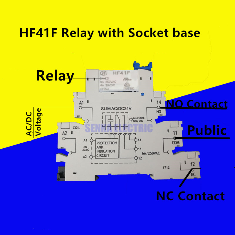 New Arrival 41F-1Z-C2-1 HF41F-024-ZS 41F-1Z-C2-1 Super Thin Din Rail Relay Module Groups Similar to PLC-RSC цена 2017