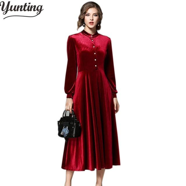 8354f9a73f5 Piste 2018 hiver velours robe femmes à manches longues Sexy Stand robes de  soirée rouge noir