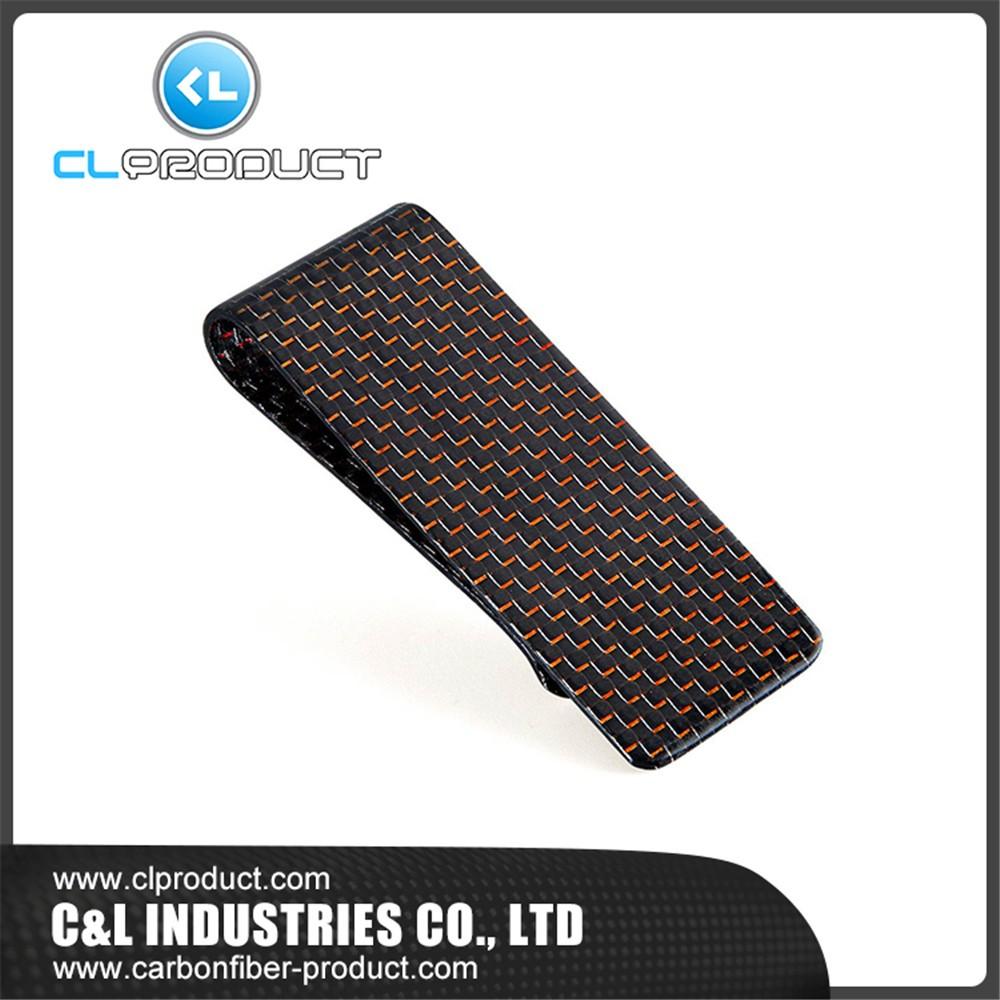 Carbon fiber money clip Red M (2)
