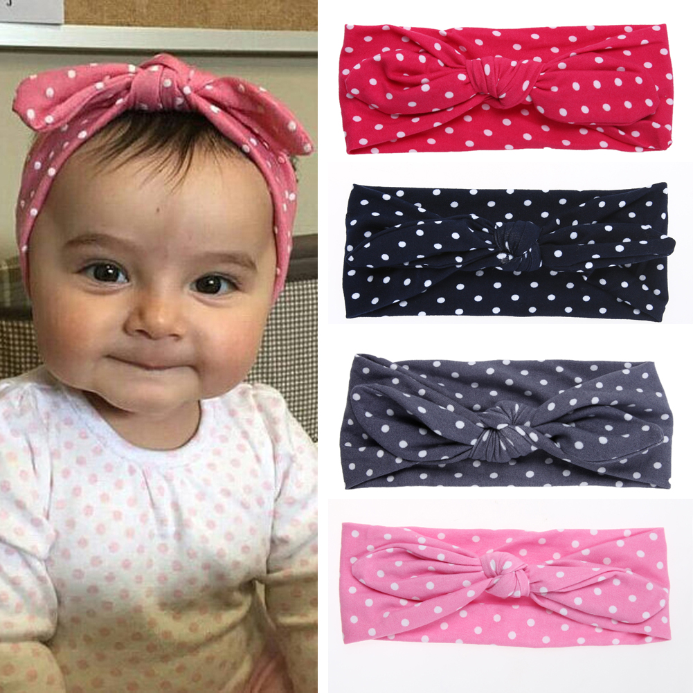 1 Pcs Hairband Baby Kids Girls Dots Printed Bowknot Headband Turban Stretchable Hair Band Headwear Accessories