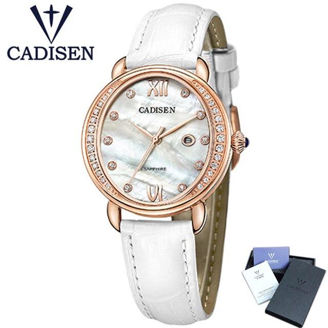 2017 CADISEN tout nouveau genève dames Quartz strass montre mode en cuir véritable femme horloge montre-bracelet Relojes Mujer cadeau