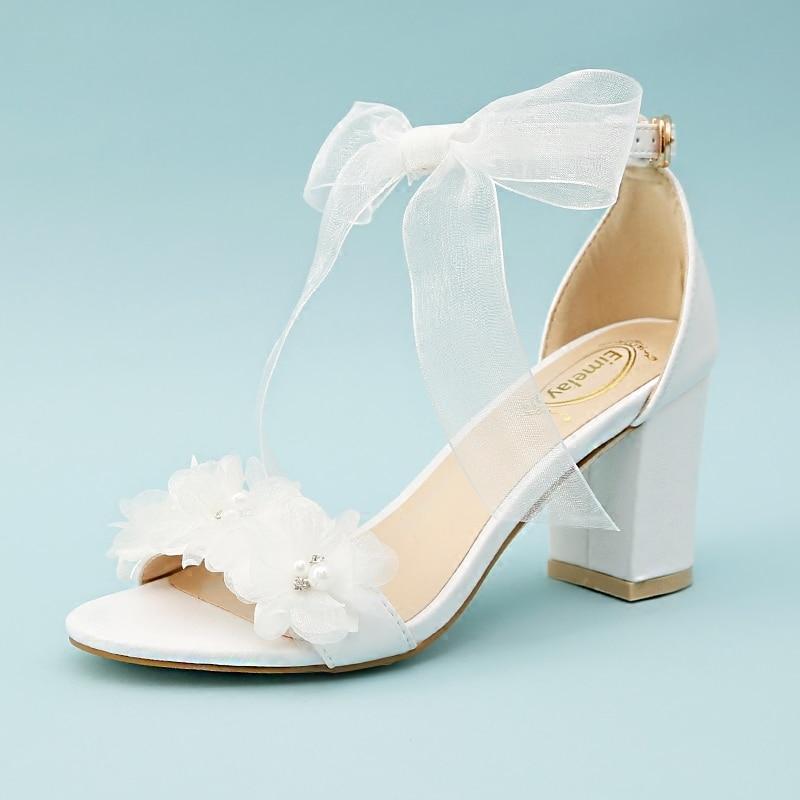 Bowknot De Mariage Fleur Blanc Womem Bracelet Un Talon Dentelle Mot Nu Orteil Chaussures Avec Épais Élégant Sandales Croix Nouveau D'été b6gY7yfvI