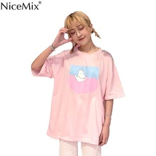 NiceMix Kawaii T Shirt 2019 Summer Women Tops Harajuku T-shirts Print Chinese Letters Short Sleeve Pink Tee Femme 23029