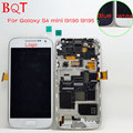 Original para samsung galaxy s4 mini i9190 i9195 display lcd com touch screen digitador com a montagem do quadro moldura